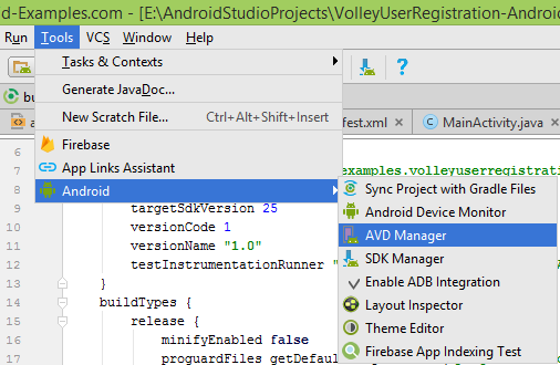 Start Android Virtual Device(AVD)
